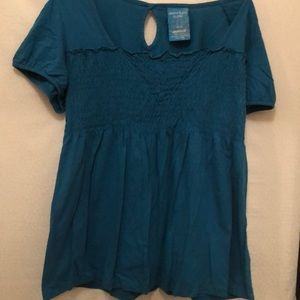 Dark turquoise smocked tunic by Avenue.
